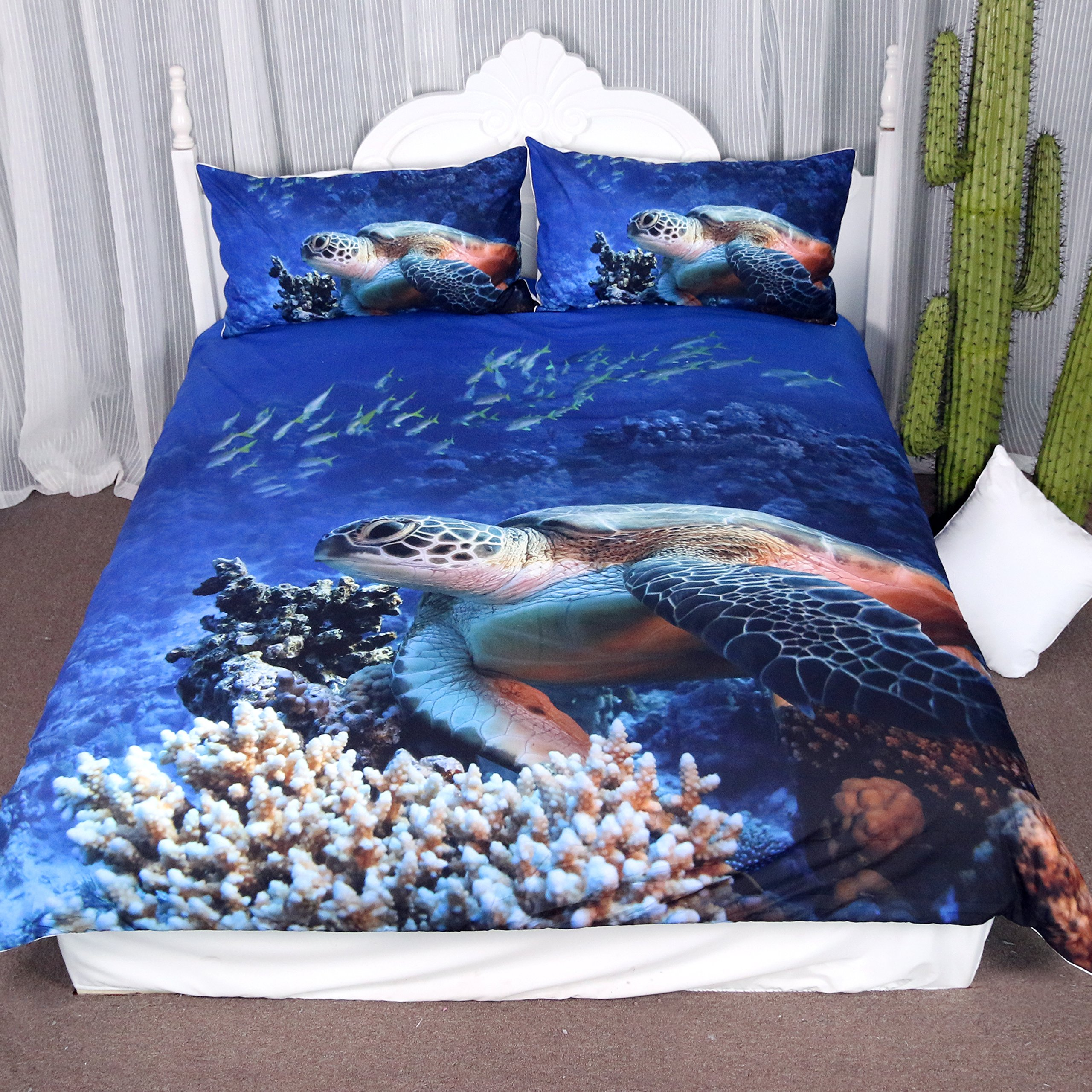 Arightex Turtle Bedding Sea Blue Duvet Cover Ocean 3d Corals Fishes Print for Teens Boys and Girls Sealife 3-Piece Quilt Set (Twin)