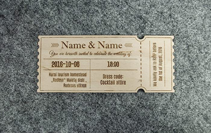 amazon com wooden wedding invitations 20pcs 1 3x4 2 inches laser