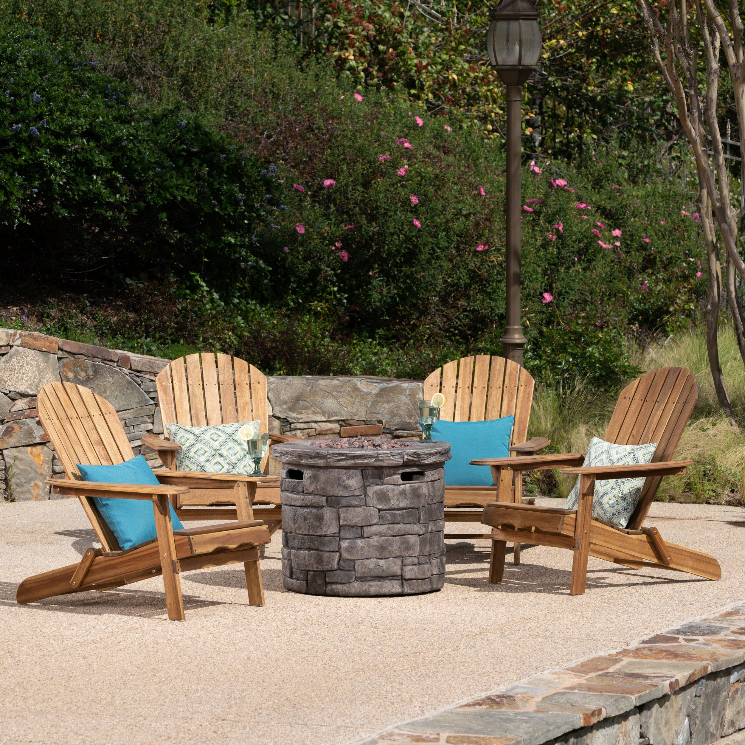 David Outdoor 5 Piece Acacia Wood/Light Weight Concrete Adirondack Chair Set with Fire Pit, Natural Finish and Grey Finish