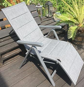 Garden Feelings Relaxsessel Aluminium Alu Relaxsessel 7 Fach Verstellbar Grau