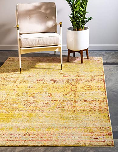 Unique Loom Austin Collection Casual Vintage Over-Dyed Yellow Area Rug 9' 0 x 12' 0