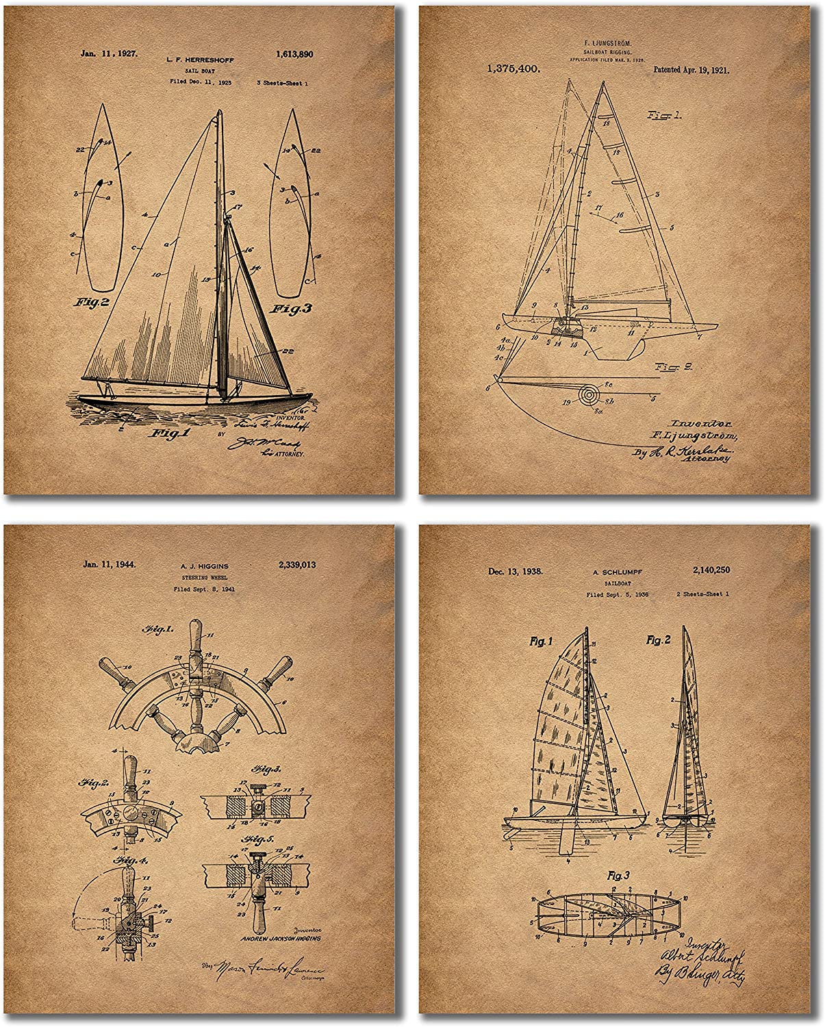 Sailing Patent Prints - Set of 4 Vintage Sailboat Wall Art Decor Photos