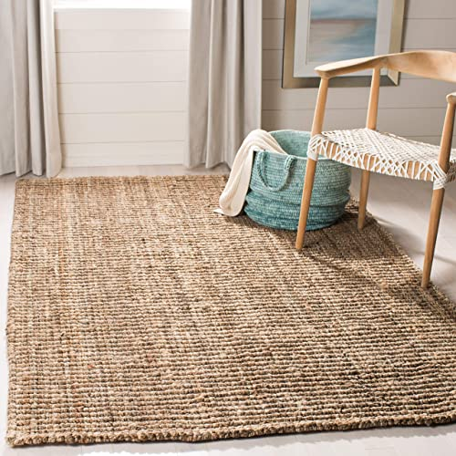Safavieh Natural Fiber Collection NF447M Hand Woven Natural and Grey Jute Area Rug 3' x 5'