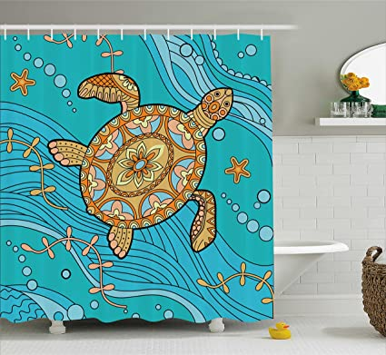 Ambesonne Turtle Shower Curtain Doodle Of Sea On Water Surface Artistic Maritime Inspirations Pattern