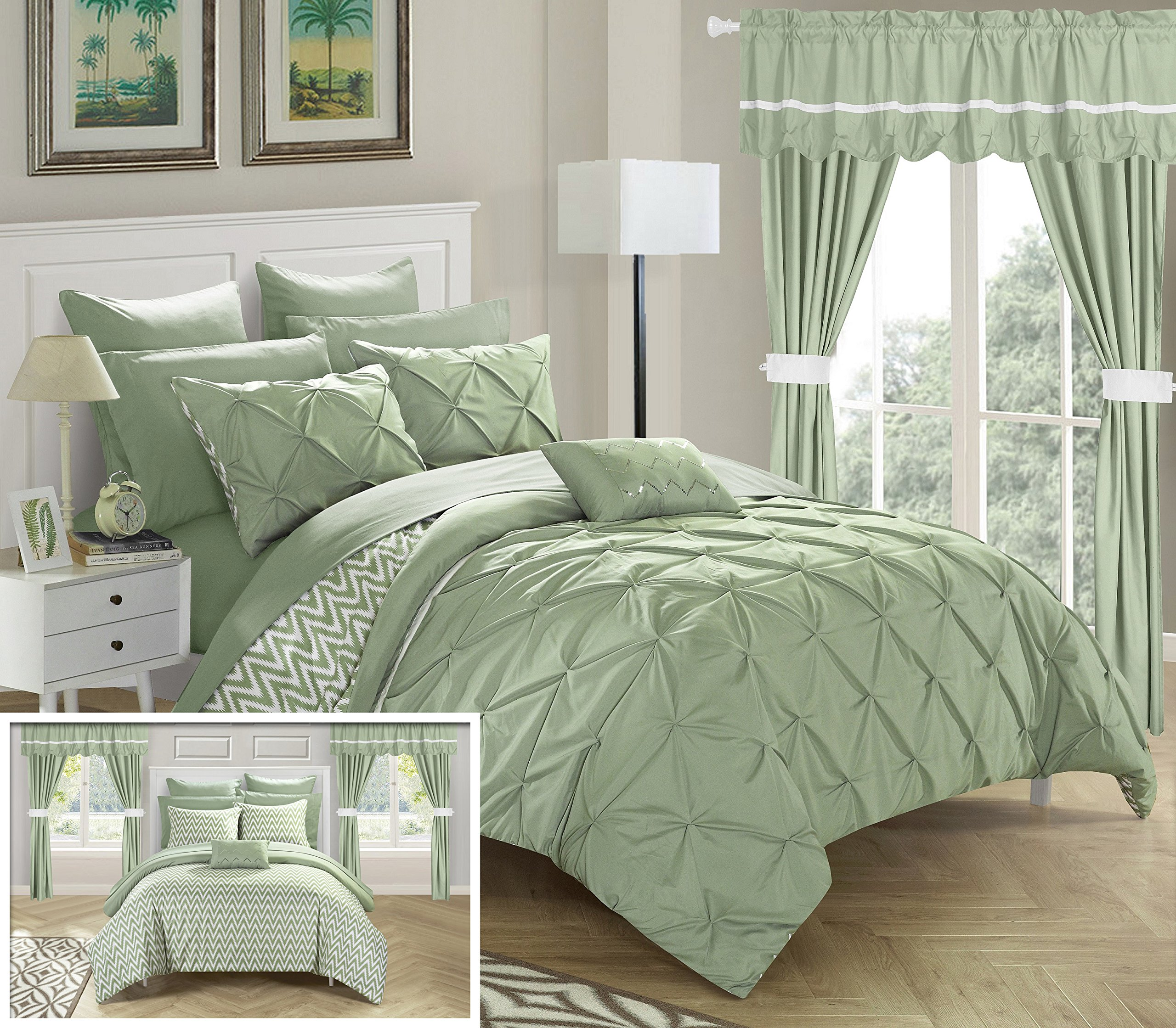 Chic Home CS0578-AN 20 Piece Jacksonville Complete Bed Room In A Bag Super Pinch Pleated Design Reversible Chevron Pattern Comforter Set, Sheets, Window Treatments And Decorative Pillows, King, Green by Chic Home