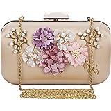 Chichitop Women's Flower Evening Clutch Pearl Evening Handbag Wedding Clutch Purse