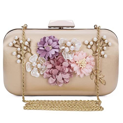 bda816f021 Chichitop Women's Flower Evening Clutch Pearl Beaded Evening Handbag  Wedding Clutch Purse, Apricot