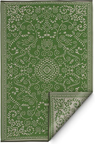 Fab Habitat Murano Recycled Plastic Rug, Lime Green Cream, 8 x 10