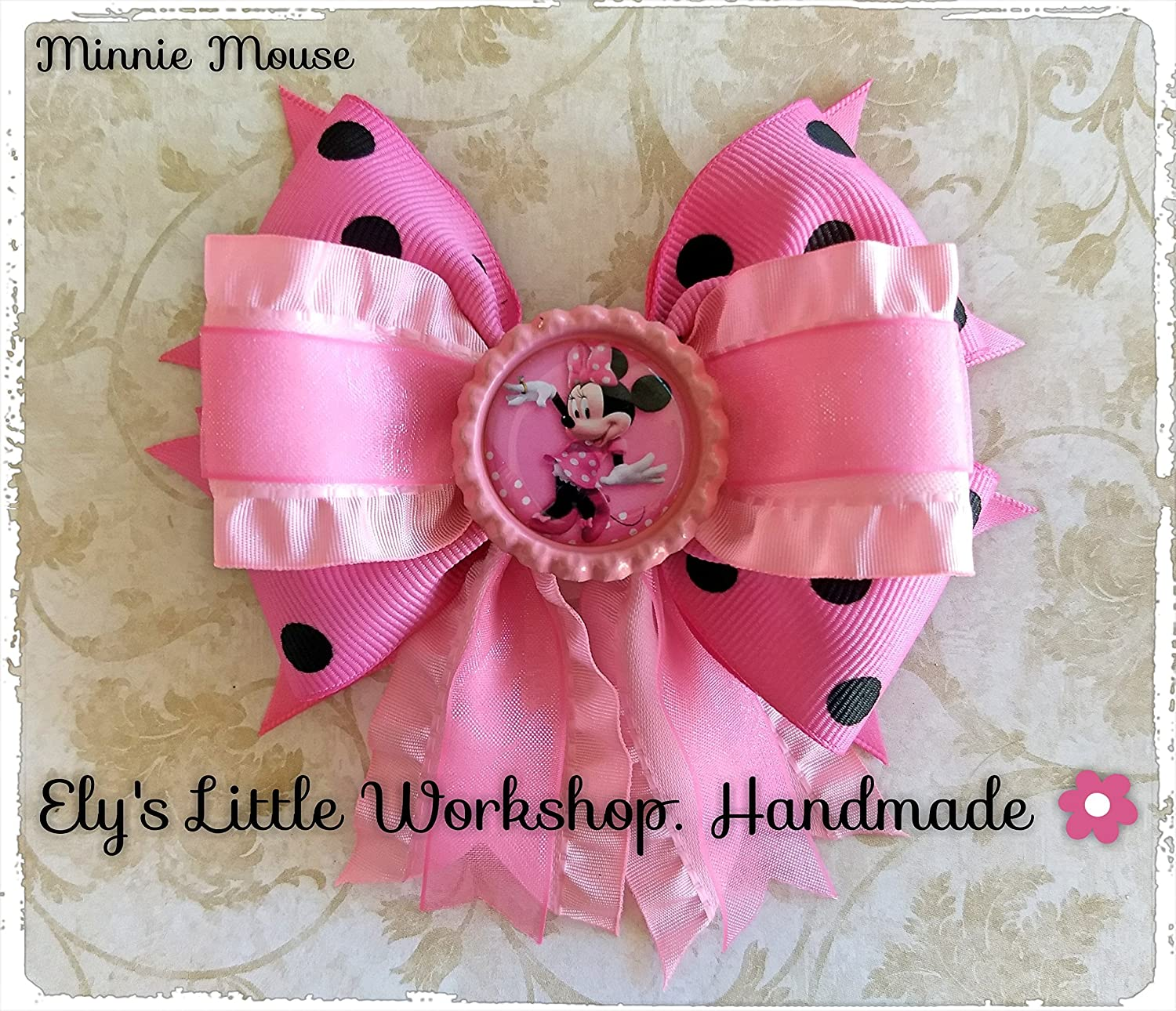 Minnie Mouse, Disney Inspired Hair Bow, Unique design, French barrette 2