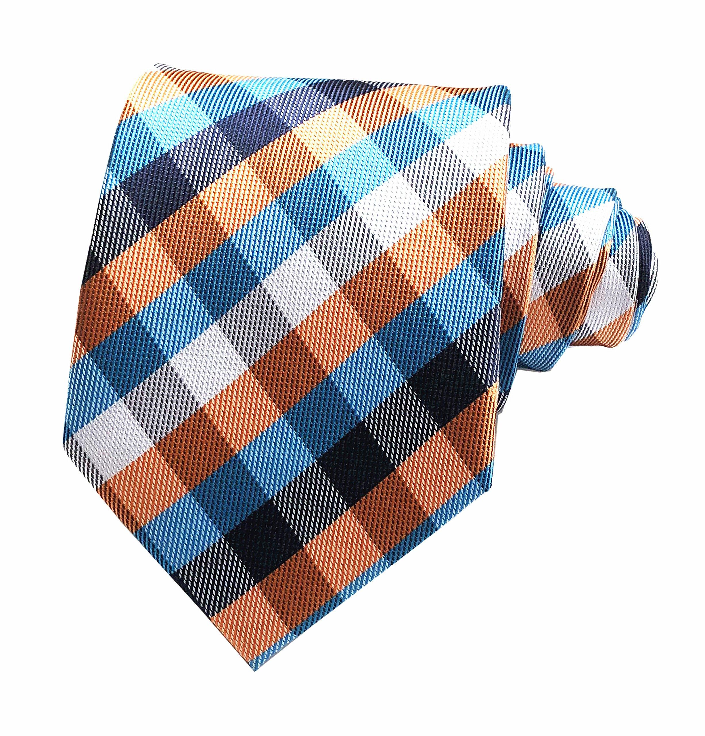 Secdtie Men's Slim Check Stripe Silk Ties Jacquard Formal Plaid Necktie for Gift (One Size, Blue Orange)