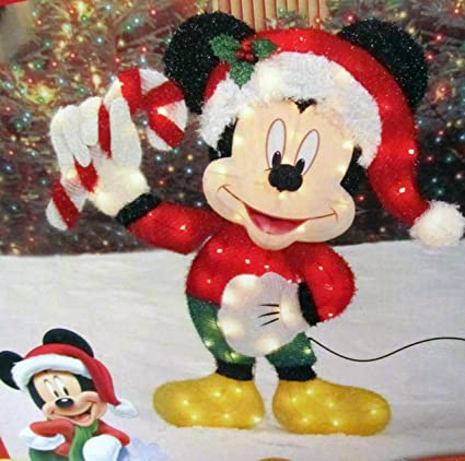 disney 36 inch lighted iridescent mickey mouse with candy cane christmas yard decor