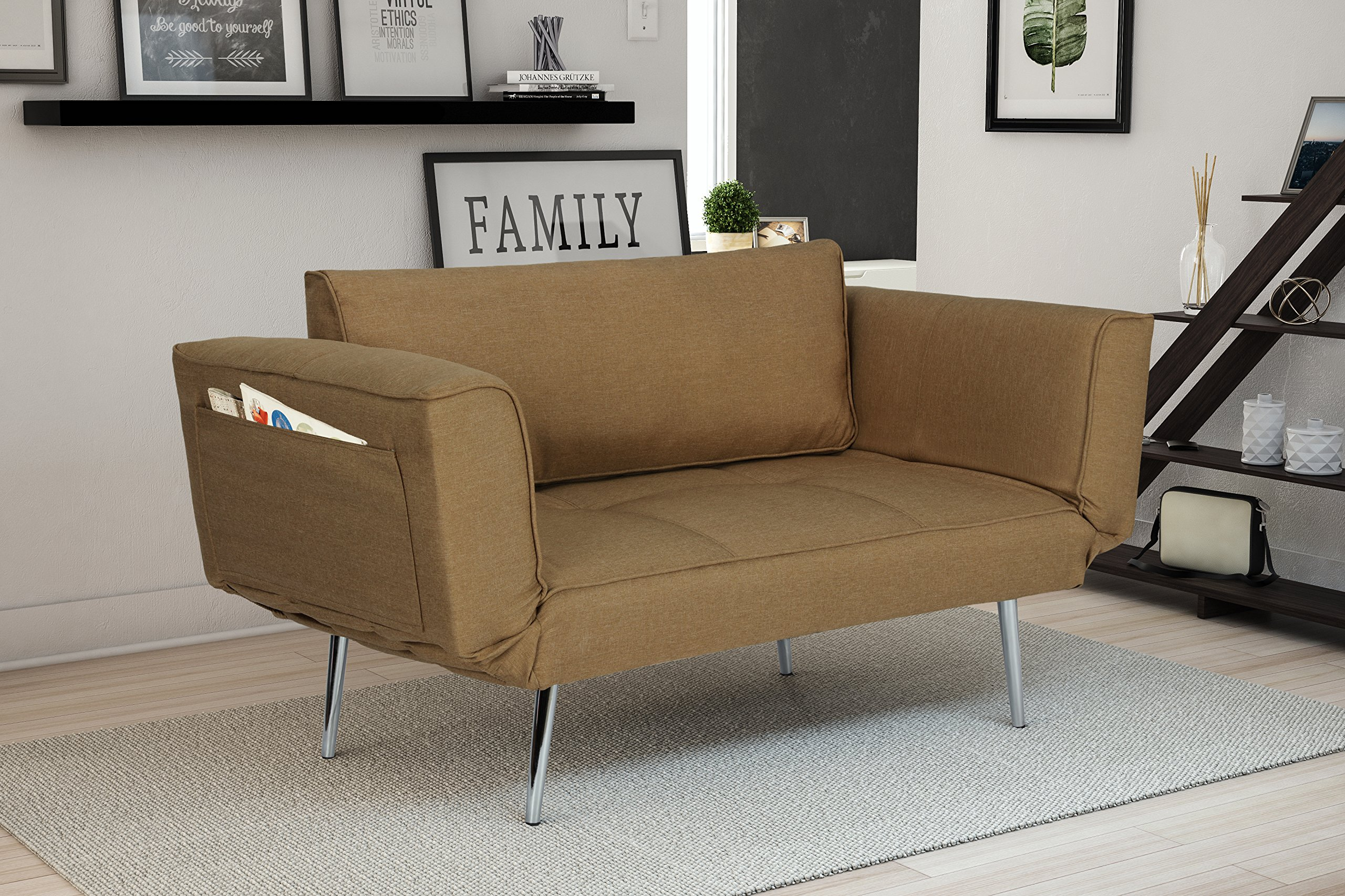 DHP Euro Sofa Futon Loveseat with Chrome Legs and Adjustable Armrests - Tan by DHP (Image #3)