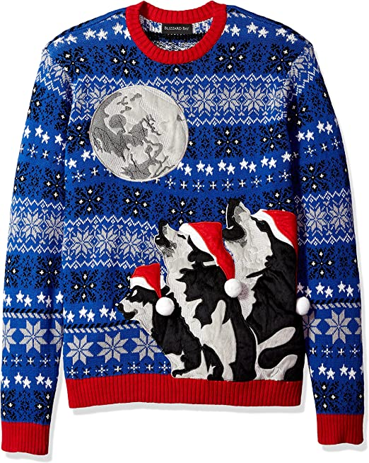 Blizzard Bay Men\u0027s Ugly Christmas Sweater Wolf