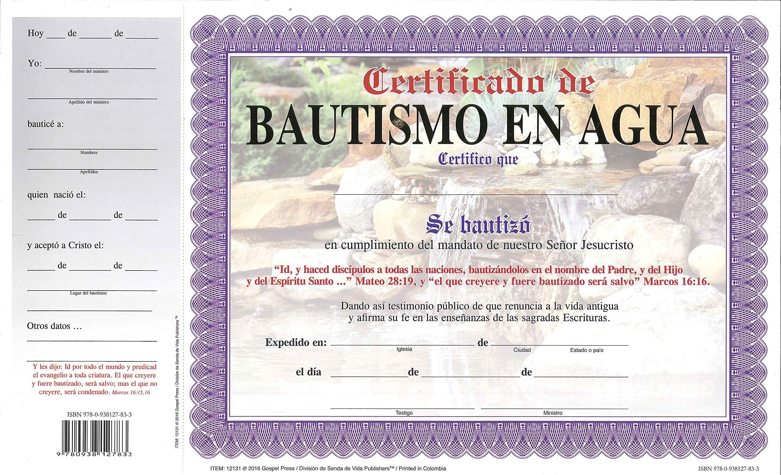 Certificado de Bautismo en Agua: Senda de Vida, Wilfredo Calderon ...