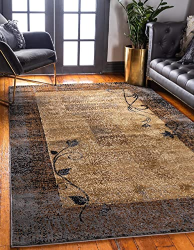 Unique Loom Barista Collection Casual Modern Basic Botanical Beige Area Rug 5' 0 x 8' 0