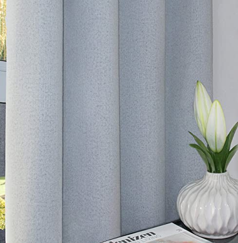 Greyish White 100 Blackout Textured Linen Curtains