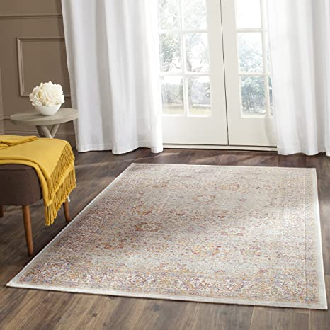 Safavieh Sevilla Collection SEV810A Silver and Ivory Silky Viscose Distressed Area Rug (4 x 57