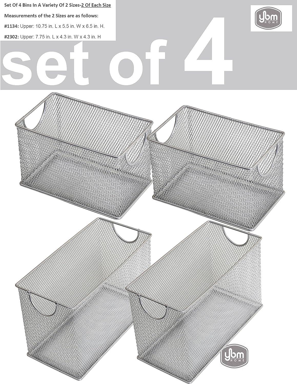 YBM HOME Household Wire Mesh Open Bin Shelf Storage Basket Organizer for Kitchen, Cabinet, Fruits, Vegetables, Pantry Items 1134-2-2302-2set-s (1, Set of 4 2 pcs 10.75 x 5.5 x 6.5, 2 pcs 7.75 x 4.3)