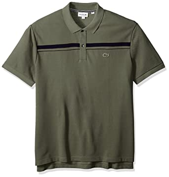 9612b7e0 Lacoste Men's Short Sleeve Heritage France Stripe Pique Classic Polo,  PH3915 at Amazon Men's Clothing store: