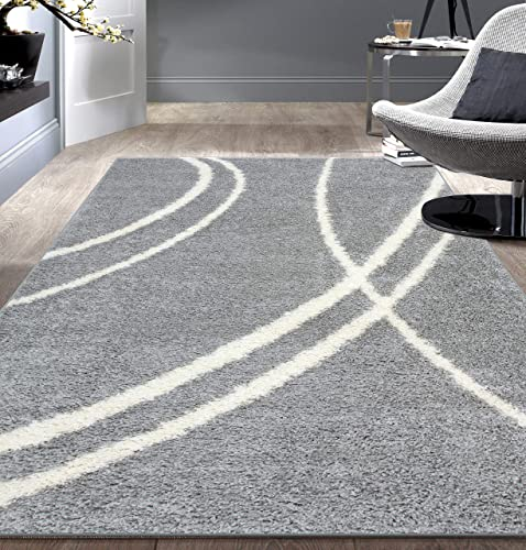 Rugshop Cozy Contemporary Stripe Indoor Shag Area Rug 6' 6″ x 9' Gray