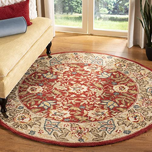 Safavieh Chelsea Collection HK140C Hand-Hooked Red and Ivory Premium Wool Round Area Rug 4 Diameter