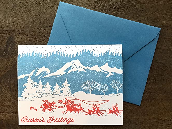 Letterpress Christmas Cards.Amazon Com Letterpress Christmas Cards Holiday Cards