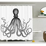 Ambesonne Nautical Decor Collection, Vintage Engraved Illustration of an Octopus Monochrome Art Polyester Fabric Bathroom Curtain Set with Hooks, Black And White