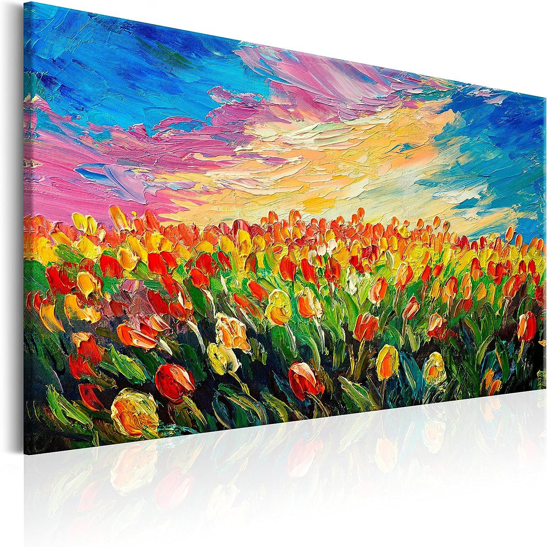 murando Cuadro en Lienzo 90x60 cm - Flores 1 Parte Impresión en Material Tejido no Tejido Impresión Artística Imagen Gráfica Decoracion de Pared Tulipanes b-B-0172-b-a