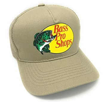 Authentic Bass Pro Mesh Fishing Hat - Khaki, Adjustable, One Size Fits Most