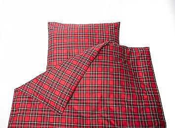 Textildepot24 Schottenkaro Rot Kariert Bettwäsche 135x200 Mit