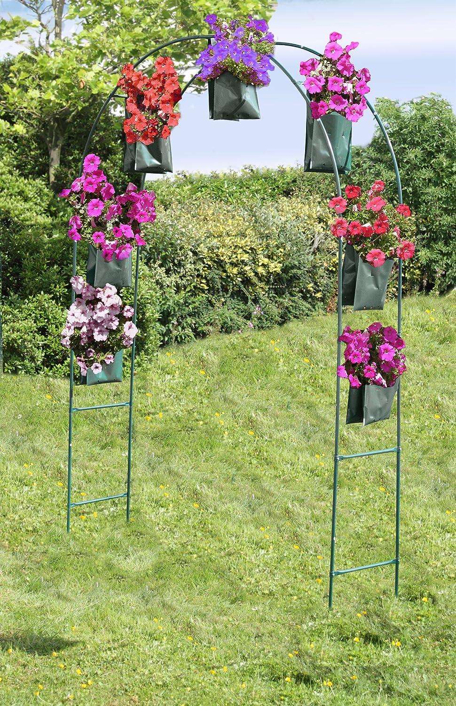 Garden Arch with 7 double pocket flower bags create stunning flower displays Greena/® Garden Flower Arch Kit