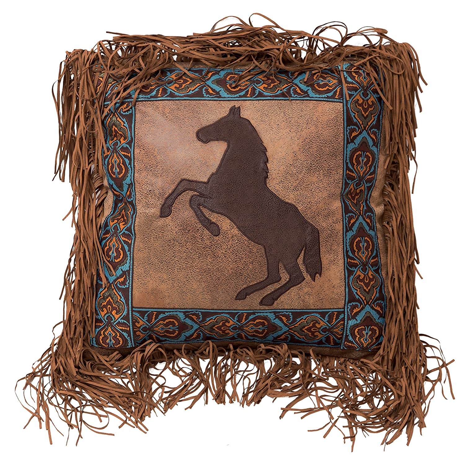 Carstens Rearing Horse Fringe, 18 by 18 Inches Decorative Pillow, Multi
