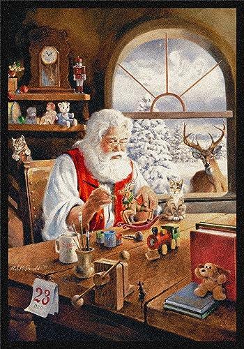 Milliken Holiday Collection Santa Gift Area Rug, 5 4 x 7 8 , Workshop