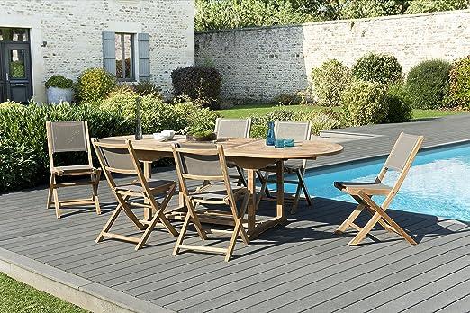 MACABANE 509600 Salon de Jardin Couleur Naturel/Taupe en ...