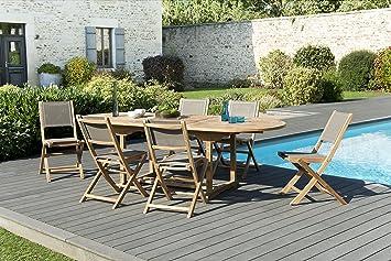 MACABANE 509600 Salon de Jardin Couleur Naturel/Taupe en Teck et ...