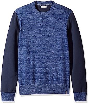a4985b57ea6e Calvin Klein Jeans Men s Space Dyed Color Block Crew Neck Sweatshirt ...