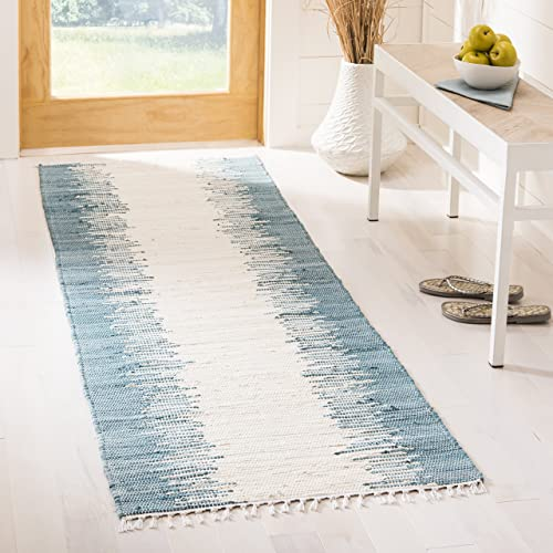 Safavieh Montauk Collection MTK751A Handmade Flatweave Blue Cotton Runner 2 3 x 7