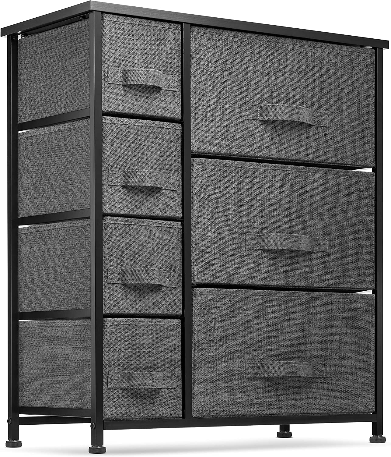 Amazon.com: 7 Drawers Dresser - Furniture Storage Tower Unit For Bedroom, Hallway, Closet, Office Organization - Steel Frame, Wood Top, Easy Pull Fabric Bins Black/Charcoal: Kitchen & Dining