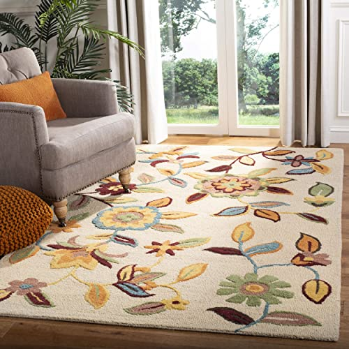 Safavieh Blossom Collection BLM677A Handmade Beige and Multi Premium Wool Area Rug 8' x 10'