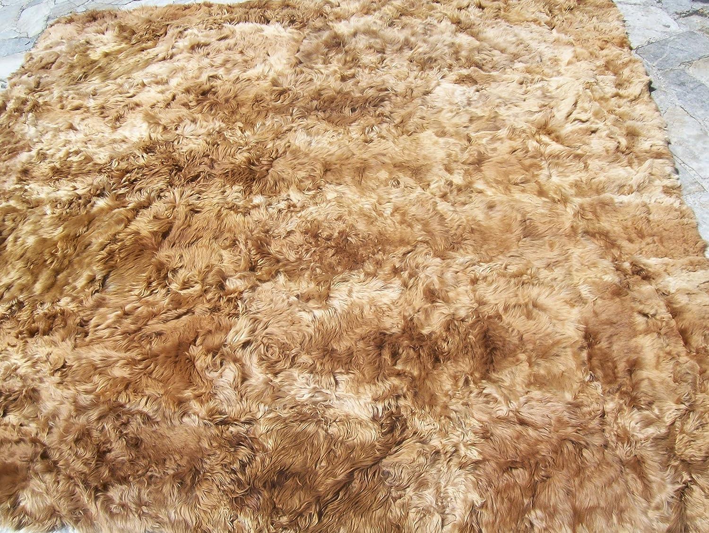 SWEET DREAMS HOME - De Lujo Hipoalergenico 100% Fibra Suri Baby Alpaca Peruana Alfombra Manta Colcha, (200 x 200 Cm) Color Beige Natural - No colorante ...
