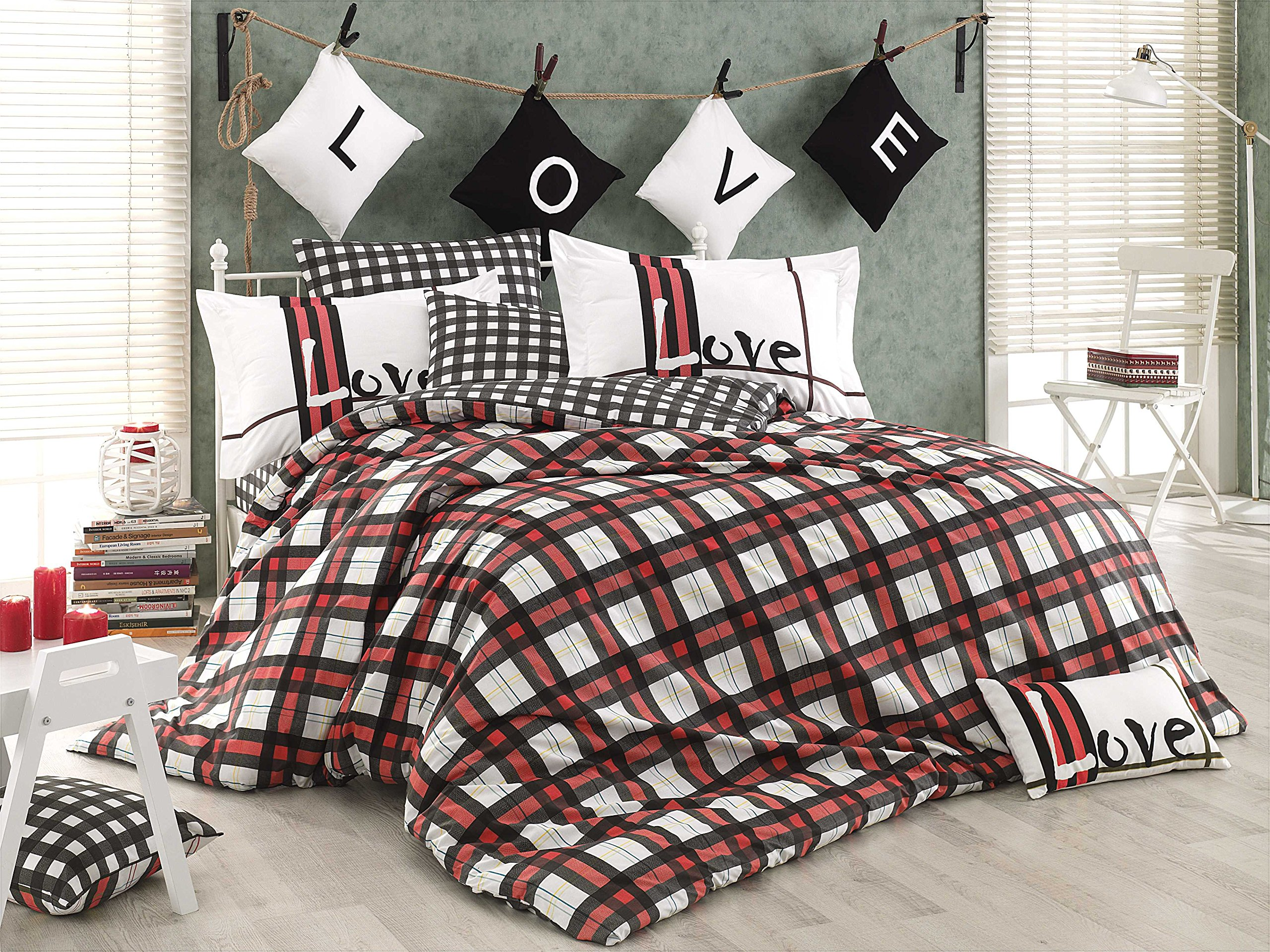 Gold Case - Love Checked 100% Turkish Cotton Poplin Duvet Cover Set - Full/Queen size, 4 piece - Made in Turkey - Chequred themmed unique item, Red-Twin size