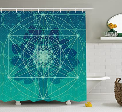 Ambesonne Sacred Geometry Shower Curtain Digital Futuristic Tree Of Life With Space Plains Archaic Pattern