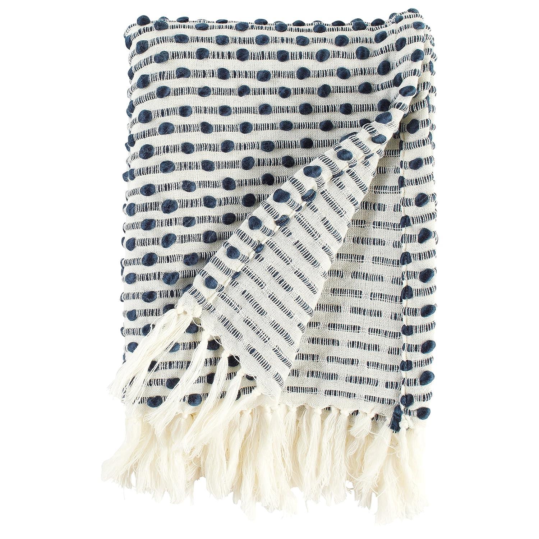 Rivet Bubble Textured Fringe Throw Blanket, 48W x 60L, Black and Cream 48W x 60L ST-523465 109939