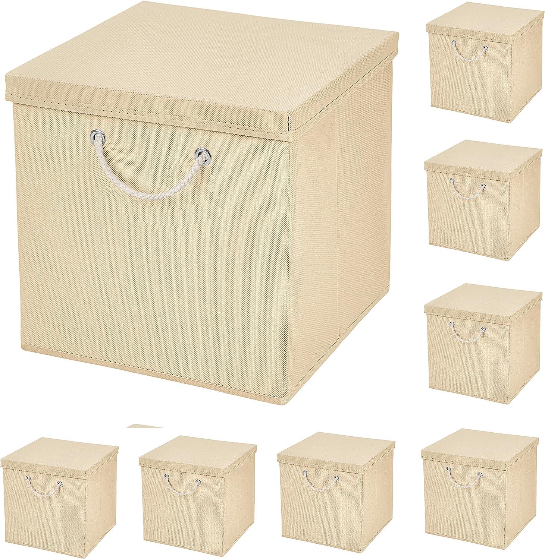 CM3 8 Cajas Plegables de 15 x 15 x 15 cm, Caja de Almacenamiento Plegable con cordón y Tapa: Amazon.es: Hogar