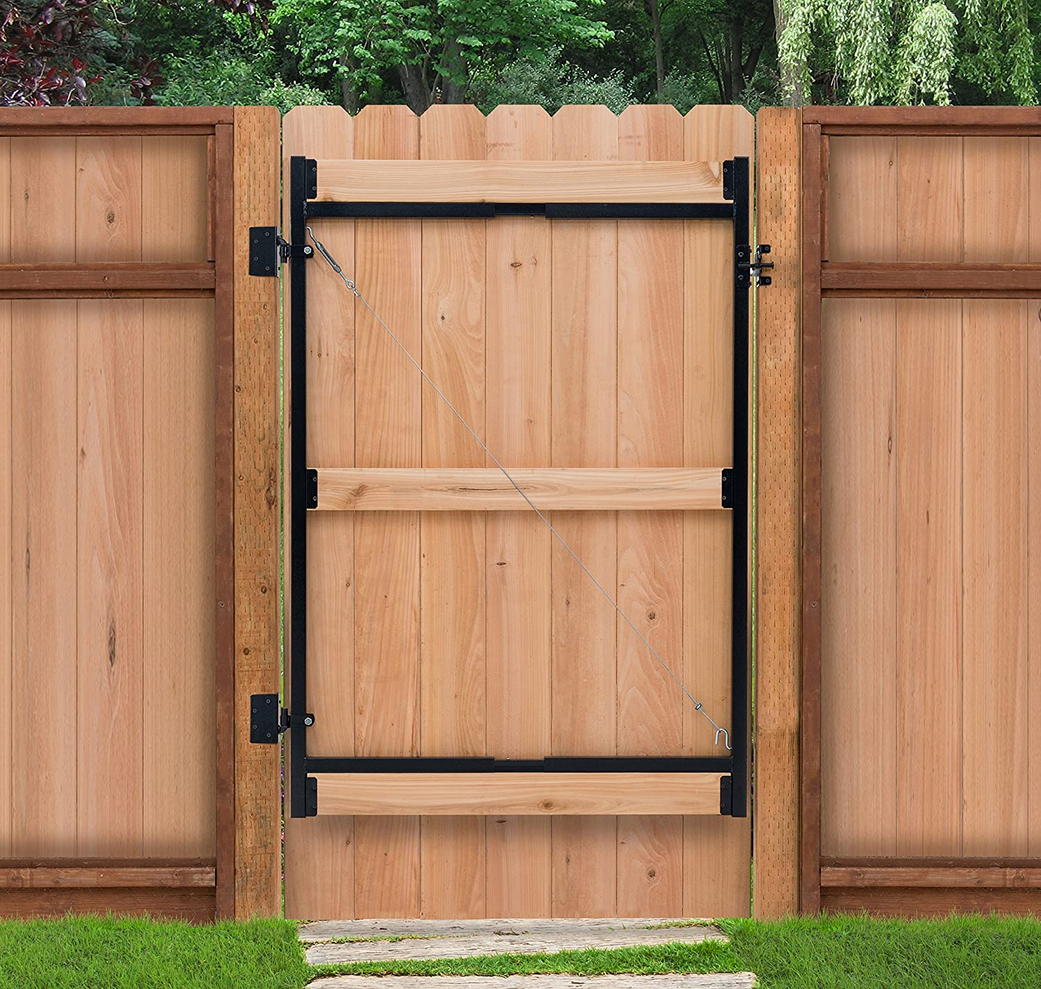 Amazon adjust a gate steel frame gate building kit 60 96 amazon adjust a gate steel frame gate building kit 60 96 wide openings up to 6 high fence home improvement baanklon Image collections
