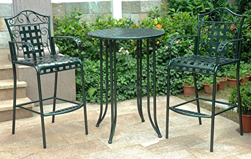 International Caravan 608287 3-Piece Bar-Height Outdoor Bistro Set