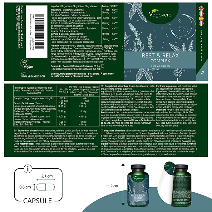 Melatonina Vegavero® | Con Valeriana + Pasiflora + Lavanda + Bacopa Monnieri | 120 Cápsulas | Ansiedad + Dormir + Insomnio + Estrés | Suplemento Relajante ...