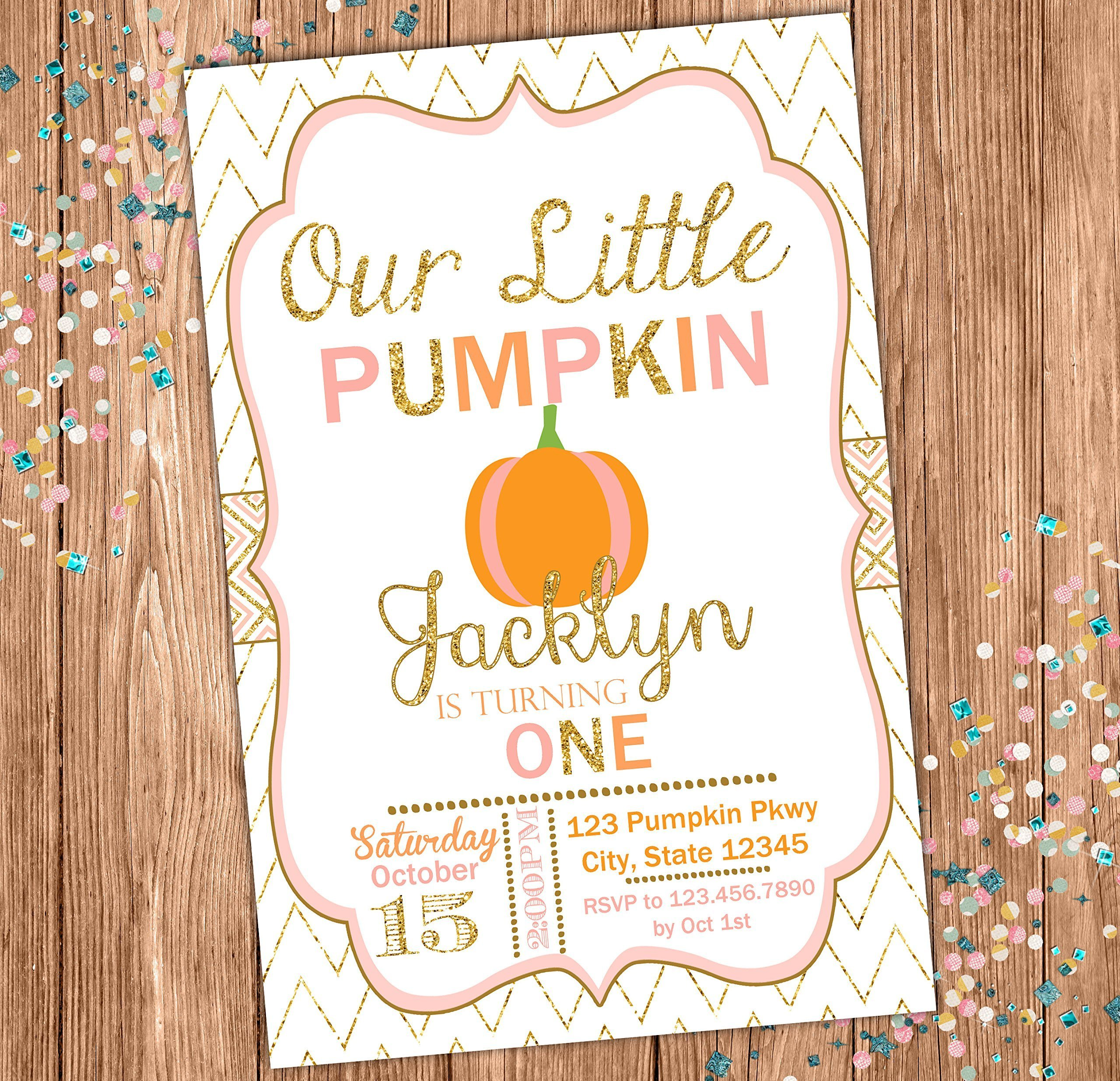 Fall Custom Birthday Invitation - Pumpkin Themed Party Invite - Our Little Pumpkin - Gold Chevron -Personalized - Pink, Pumpkin and Gold by Rainy Zebra Designs
