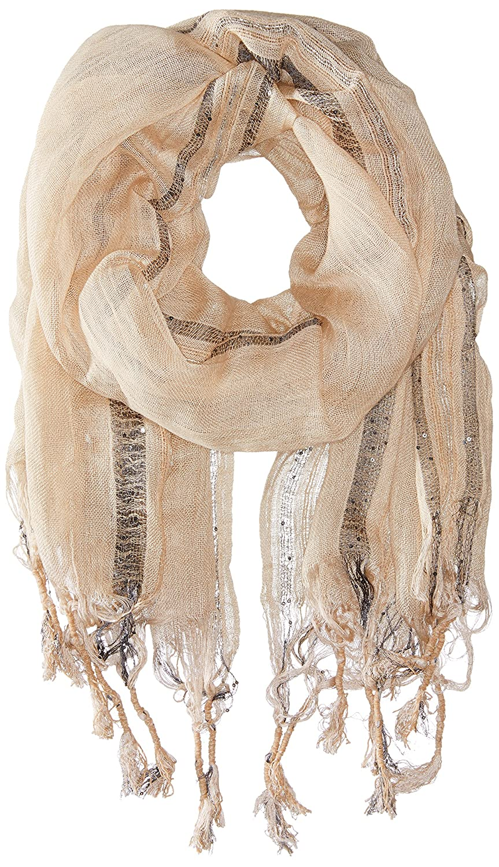 Saro Lifestyle Women's Striped Linen Shawl with Fringe