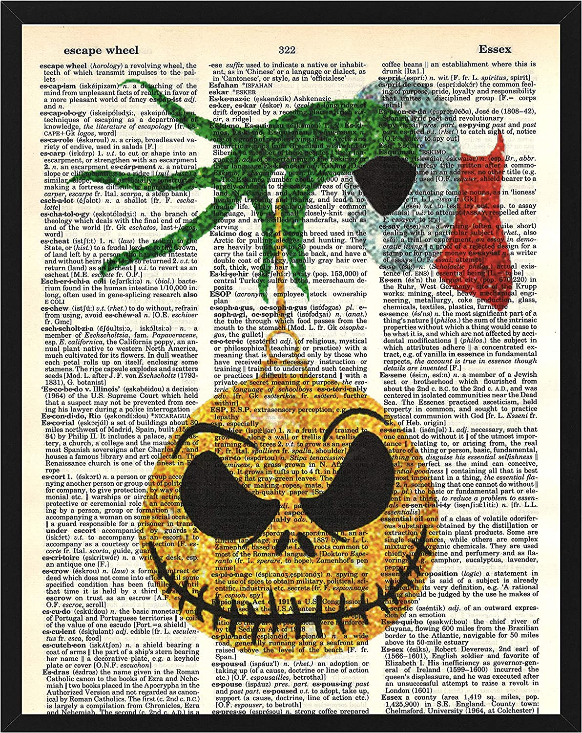 Jack Skellington with The Grinch Christmas Decoration Wall Decor Jack Skellington and How The Grinch Stole Christmas Dictionary Art Print 8 x 10